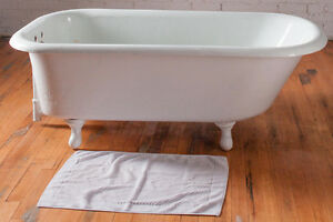 Vintage Cast Iron Bathtub with New Taps