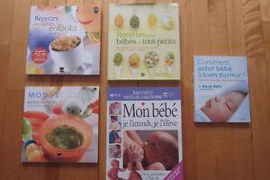 livres recettes pour bébé,purées,et comment aider bébé a dormir.