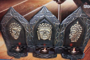 NEW Wooden Budda Candle Holder