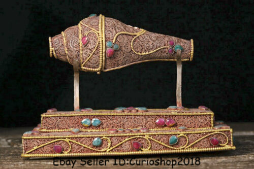 "8"" Old Tibet Nepal Filigree Hand Inlay Gemstone Conch Shell Trumpet Horn Statue"