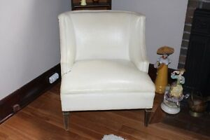 1960's Very Popular White  Leather Tub Chair with Tacks