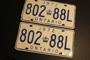 License Plates x2 ON Vintage Retro 1972 Classic Car restoration