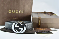 Brand New GUCCI Belt Real Leather Black With Silver Buckle