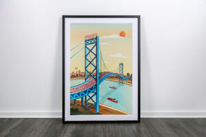 Limited Edition Print - Ambassador Bridge Illustration
