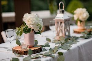 Rustic Wedding Decor - Jars & Decorative Wood Disks