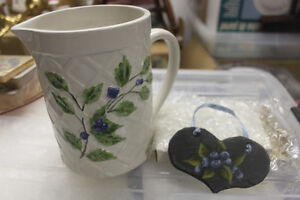 Blueberry Motif Ceramic Pitcher and Slate Tole Painted Heart