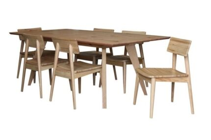 WILLY AMERICAN OAK TIMBER DINING SET TABLE 6 CHAIRS
