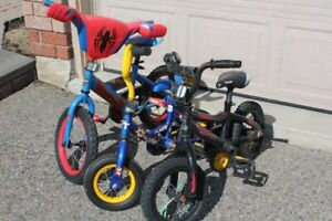 "BOYS BIKE BICYCLE 14"" SPIDERMAN, 12"" AND 10"" TRAINING WHEELS"
