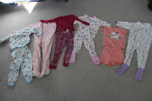 6 pairs of Girls Size 2 pajamas incld. 3 1-piece and 3 2-piece