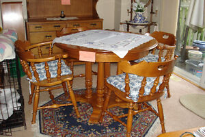 Vlilas Maple Dining Room Table and chairs and Buffet and Hutch