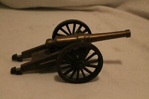 Vintage brass & wooden cannon replica