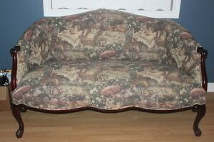 Sofa with Victorian Themed Cats Tea Party Upholstery