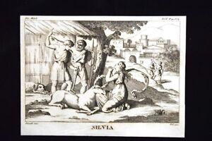 Silvia-Tirreno-Ascanio-Incisione-all-039-acquaforte-del-1820-Mitologia-Pozzoli