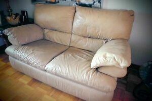 2 x Sofa en veritable cuir