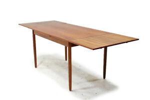 Mid Century Compact Teak Dining Table with Draw Leaf Extensions