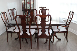DINING ROOM- TABLE,10 CHAIRS, CURIO, SERVER/BAR