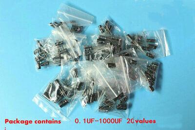 200pcs 20values 0.1uf-1000uf Common Used Electrolytic Capacitor Assortment Kit