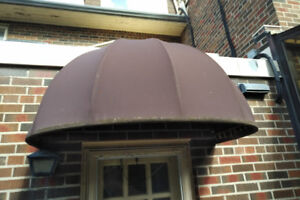 Door Awning - Steel Tubing Frame, Brown Canvas 55(w)x 28(h) x 33