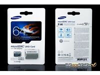 Samsung pro 64gb sd card and SanDisk 4gb sd card