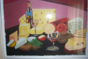 Table Setting Wine And Cheese Painting By Wendy Colwell
