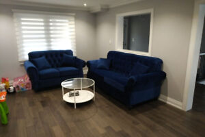 Brand new tufted royal blue sofa and love seat