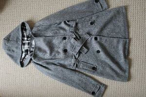 Grey Wool Double Breasted Coat with Checkered Hood