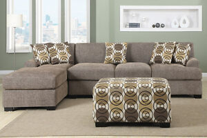NEW! Fabric Sectional w/Reversible Chaise. Same Day Delivery