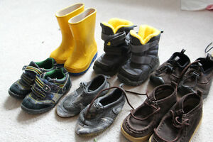 6 pairs of boys shoes & winter boots size 6 rubber boots size 5