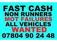WANTED CARS VANS NON RUNNERS SCRAP FOR CASH NO MOT DAMAGED bmw