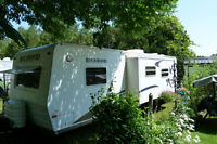 Travel Trailer on Pretty Site at Sand Hill Park on Lake Erie