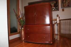 Vintage Solid Wood Wardrobe / Armoire, shelves & drawers