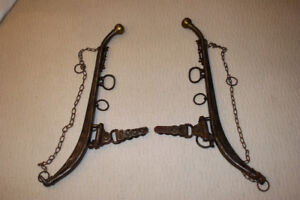 "Antique 1800s 28"" Iron Horse Collar Hames with Brass Knobs"