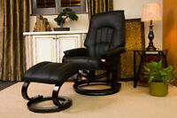 Black and Brown Top Grain Leather Recliner with Ottoman