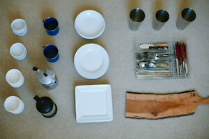 Kitchen Box #3 - Plates, Cutlery, Glasses, Etc. (See Photos)