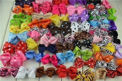 LOTS MIX 30PCS Boutique Hair Bows Girl Baby Alligator Grosgrain Ribbon Headband