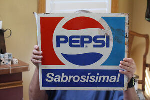 Vintage Venezuela Double Sided Pepsi Flange Metal Sign NEW PRICE