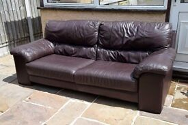 3x Seater Dark Brown Leather Sofa