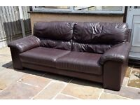 3x Seater Dark Brown Leather Sofa