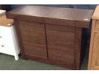 Akita walnut 2 door narrow sideboard by Bentley designs (new ex display)