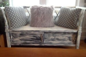 Worn & Weathered Style - Old white bench with underneath storage