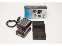 Two Genuine Fuji NP-W126 batteries & USB charger for Fuji mirrorless cameras.
