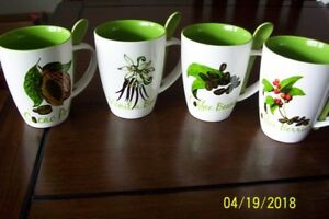 SET OF 4 NEW COFFEE MUGS WITH SPOONS