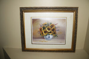 Sunflower painting with gold frame