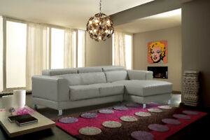 BARGAIN,STEAL Condo Size Leather Sectional adjustable headrests,
