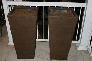 Large Fiberglass Planters (brown) x 2