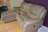 Leather Electronic Couch with Chaise lounge and console