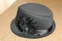 Brand new never worn black fedora hat with black gems & feathers