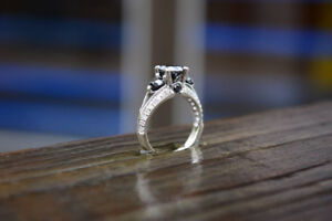 2ct Black and White Diamond Engagement Ring - Size 5.25