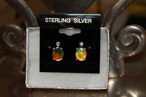 Ammolite earrings with Tanzanite accents Sterling Silver Studs