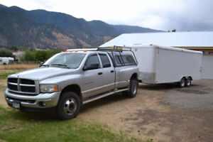 2003 DODGE 3500 DUALLY WITH 20' CARGO TRAILER - LOW MILEAGE